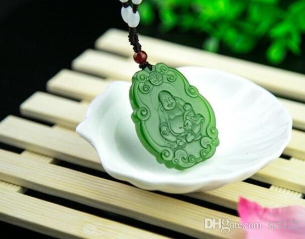 Xinjiang Hetian Jasper A Waren Jade-Buddha-Anhänger Spinat Grüne Maitreya Frauen-Jade-Anhänger Großhandel