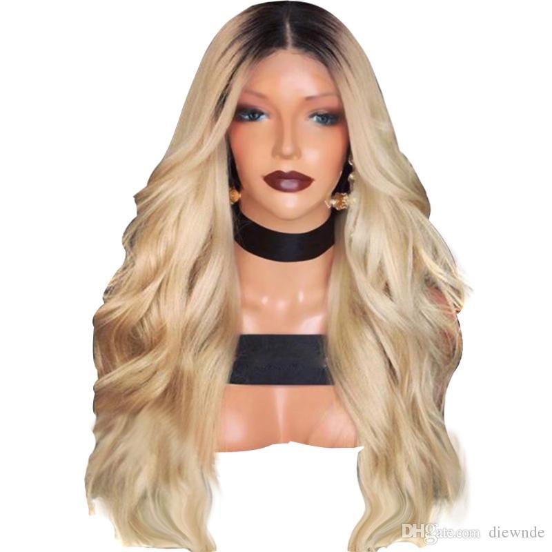 2 Töne Lange Körperwelle Haar 180% Dichte Dunkle Wurzeln Ombre Blonde Synthetische Lace Front Perücke Mittelteil Hitzebeständige Perücken Für Frauen 144