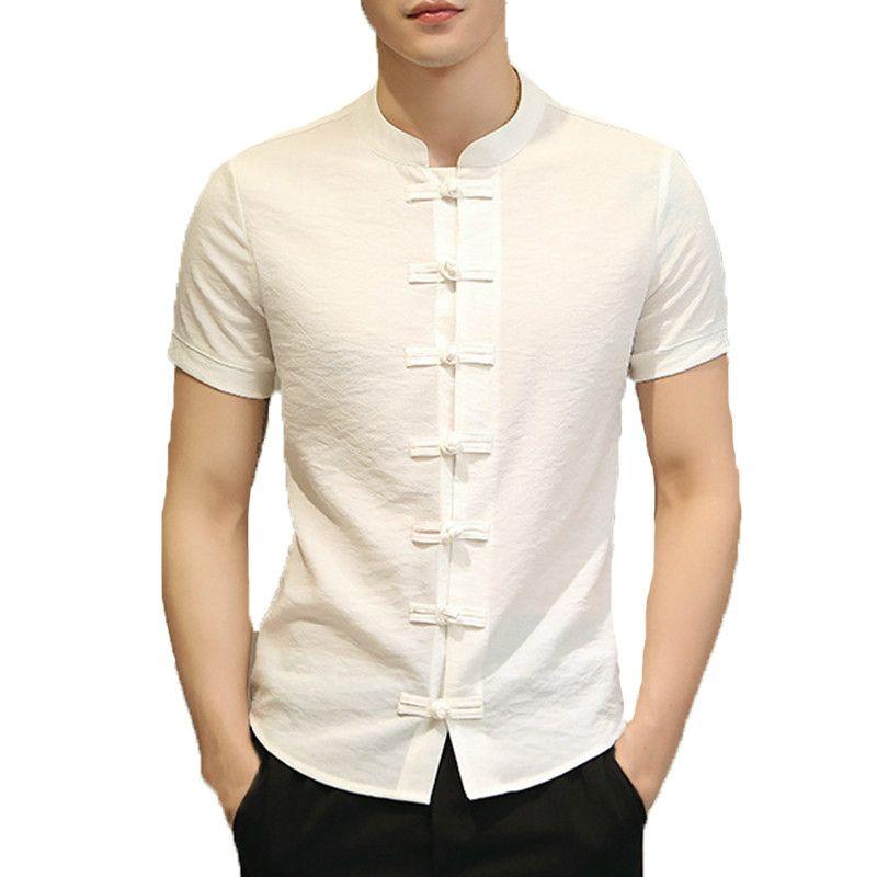 Januarysnow 2020 Vintage Hommes Chemises Robe courte manches Bouton vers le bas Slim Fit Summer style chinois T Hauts pour hommes Vêtements Camisas Masculina