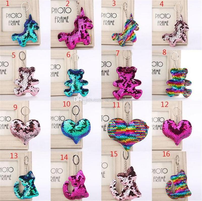 Flamingo star unicorn Heart Keychain Glitter Mermaid Sequins Key Ring Gifts for baby Charms Car Bag Key Chain Party Favor B11