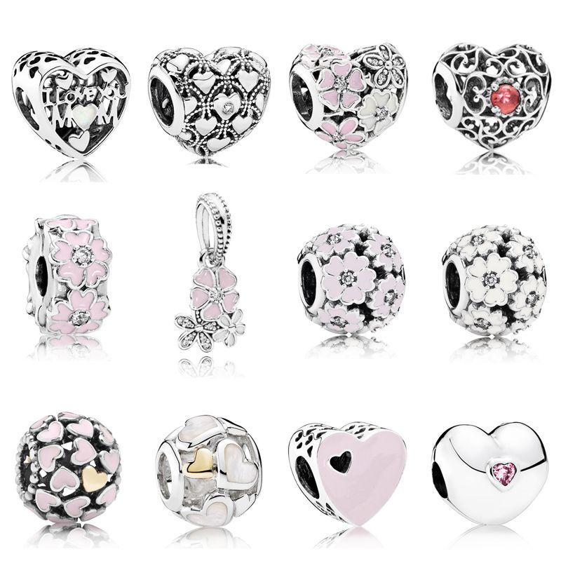 Стерлингового Серебра 925 Multi Style Розовый Первоцвет Цветок Клип Очарование Любовь Сердце Бисер Fit Pandora Оригинальные Браслеты DIY Ювелирные Изделия