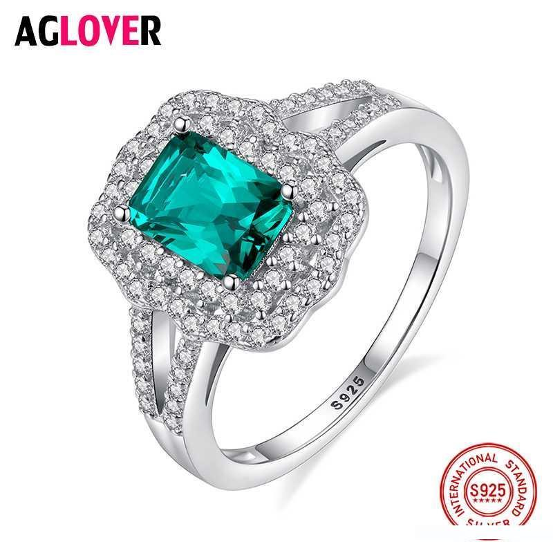 2019 Aglover 100 925 Sterling Silver Ring Luxury Green Large