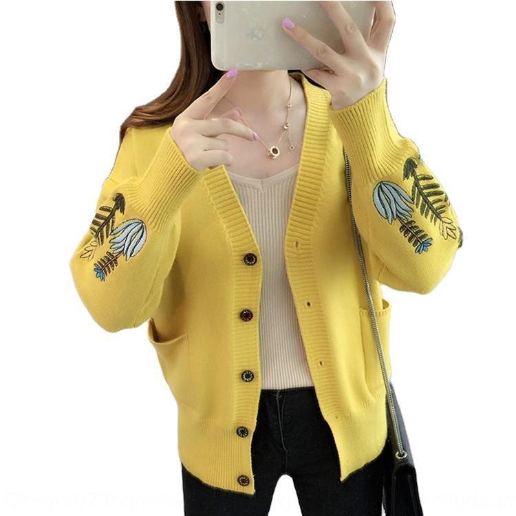 MfHrQ New inverno 2020 simples e elegante / algodão das mulheres coreanas Algodão e linho camisola super-cardigan de linho grosso e V-neck camisola solta