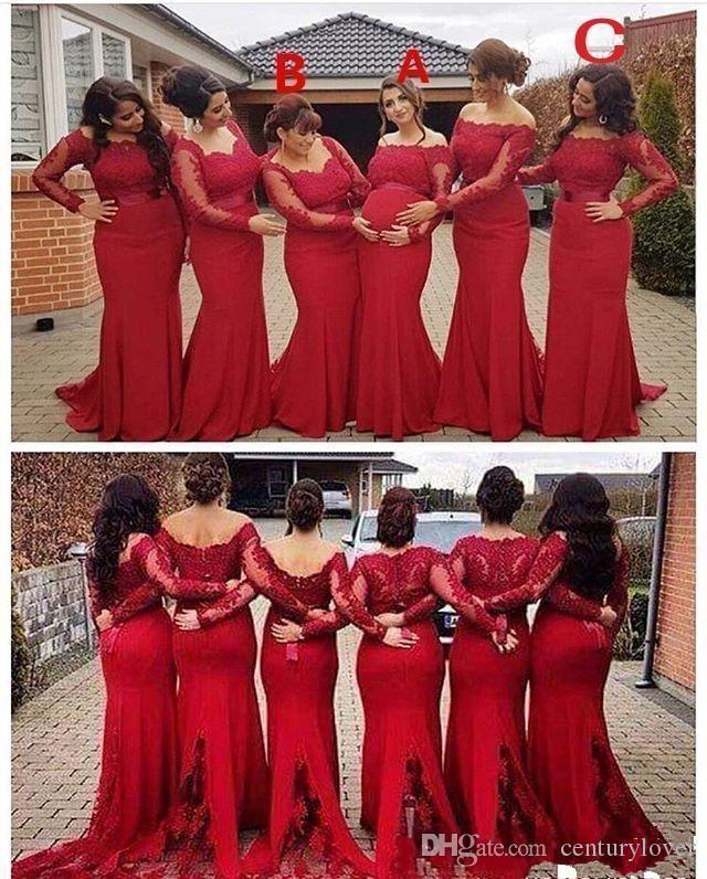 Nuevo Hot Sexy Dark Rojo Red Sirena Vestidos de dama de honor de los estilos mixtos apliques de encaje con cuentas de manga larga con talla grande de boda, dama de honor.