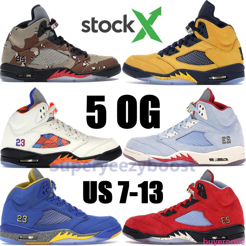 Jumpman 5 5s scarpe Olimpiadi uomini Pallacanestro MICHIGAN 2019 stivali Black Grape Fire Red Ice Blue Università Rosso JSP Laney PSG Mens Trainers