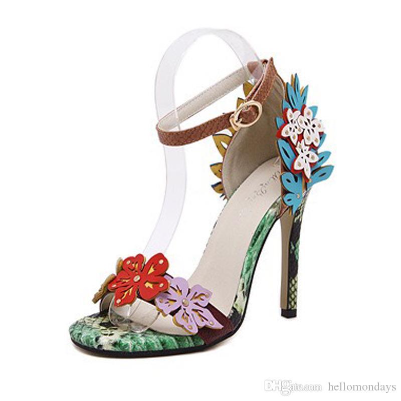 Tacones cubiertos de flores con estilo, con punta abierta, sandalias y sandalias con tacón de aguja, zapatos de tacón alto con correas de tobillo