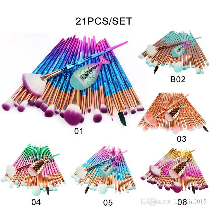21pcs Mermaid Make up Brushes Eyeshadow Makeup Brushes Set Foundation Eyebrow Eyeliner Blush Concealer Professional Cosmetic Brush Kit