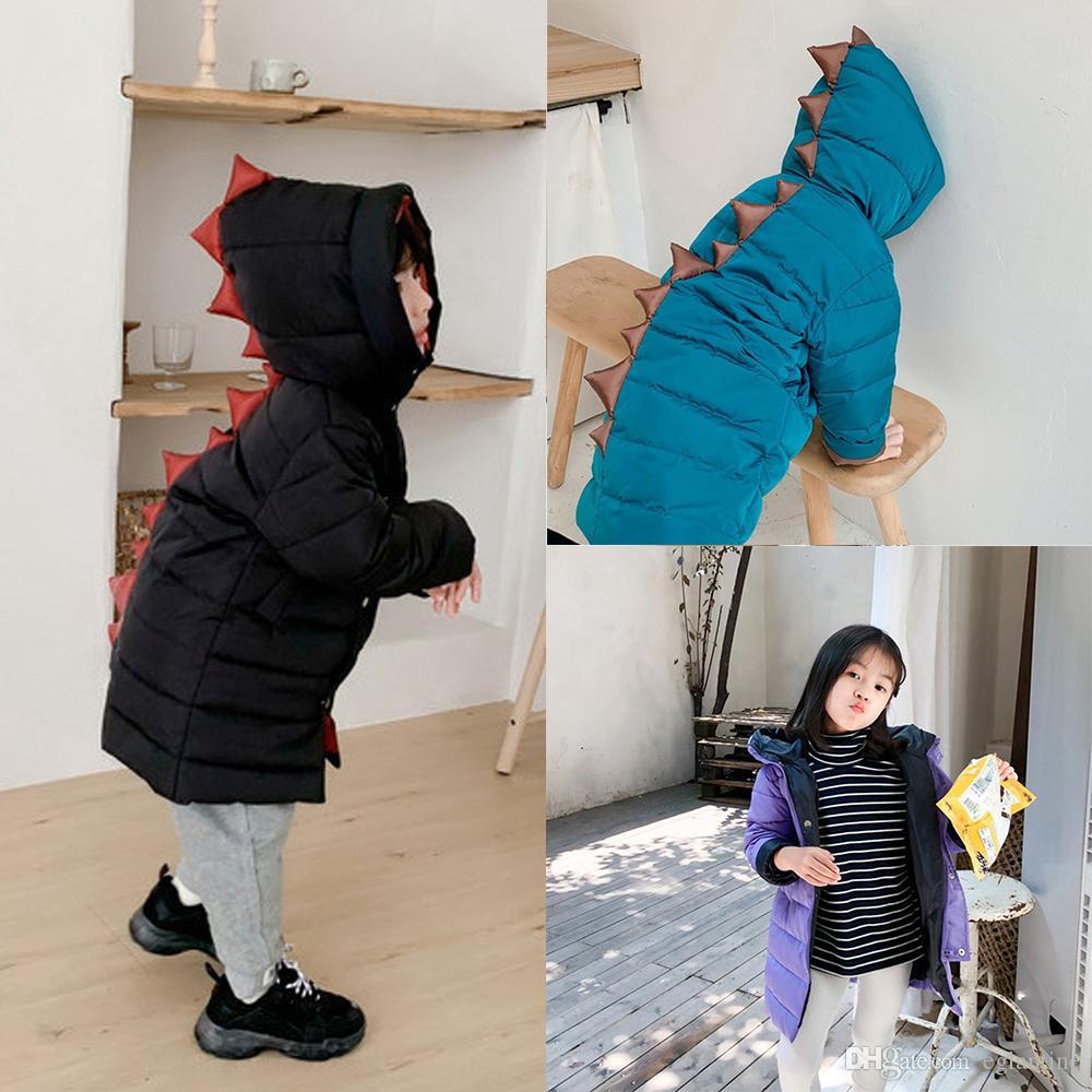 Winter-Kind-Kind-Dinosaurier-Schnee-Abnutzungs-Baby-Jungen-Mädchen Reißverschluss Kapuzenjacke Mantel Oberseitenoberbekleidungt Warm Pullover Parka