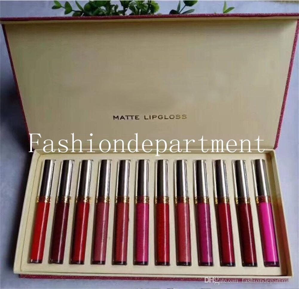 재고 ! 새로운 메이크업 립스틱 고품질 12 인기있는 색상 = 1SET 매트 방수 립글로스 DHL