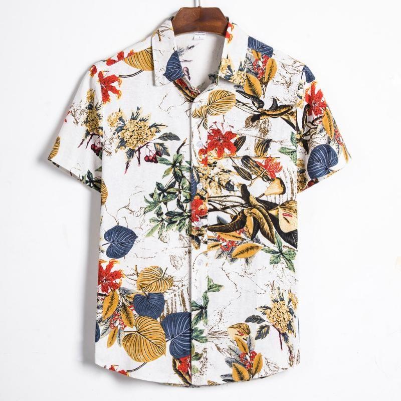Men Linen Short Sleeve T-shirt Hawaiian Beach Summer Solid Button Down Shirts UK
