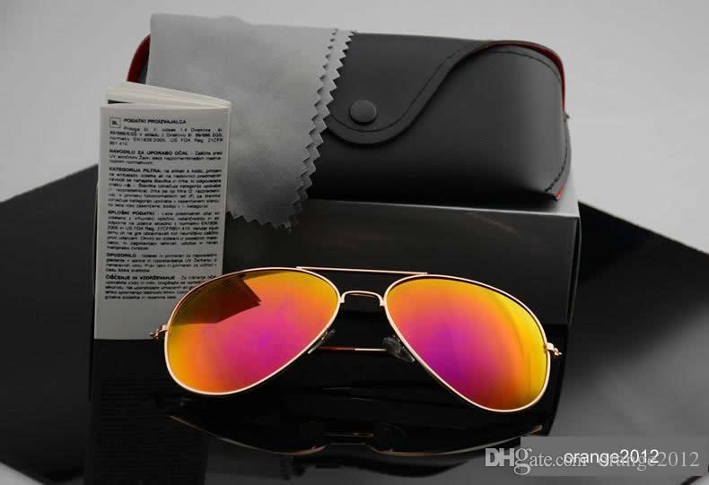 2019 고품질 선글라스 남자 편광 렌즈 파일럿 패션 선글라스 여성 브랜드 디자이너 빈티지 스포츠 태양 안경 케이스 상자