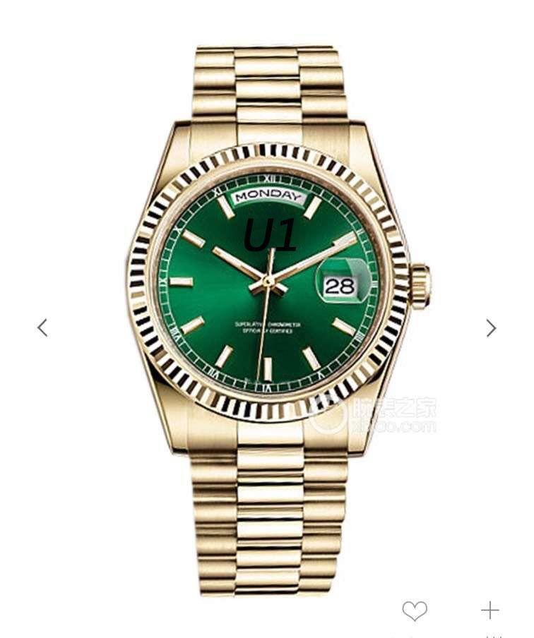 Outdoor 41MM Verde Dial Movimento Automático Men Relógios de pulso Presidente Ouro Amarelo Bracelet Mens Watch cristal de safira Dia e Relógios Data