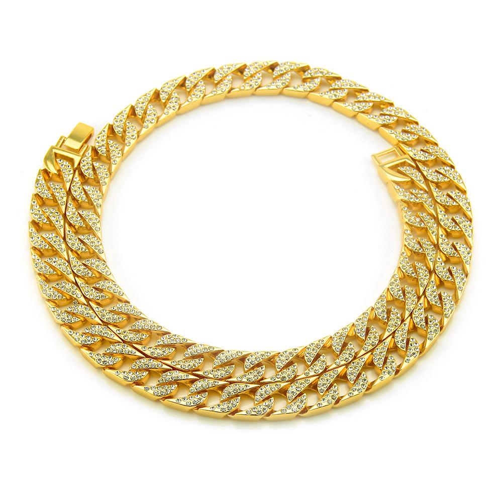 15mm Curb Cuban Chain Necklace For Men Silver Plated Hip Hop Rhinestones CZ Rapper Necklace Jewelry wholesale