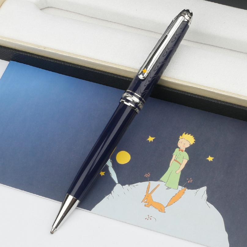 높은 품질 블루 le 쁘띠 프린스 rollerball 볼펜 선물에 대 한 깊은 파란색 귀중한 수지 배럴 펜으로 실버 금속 모자