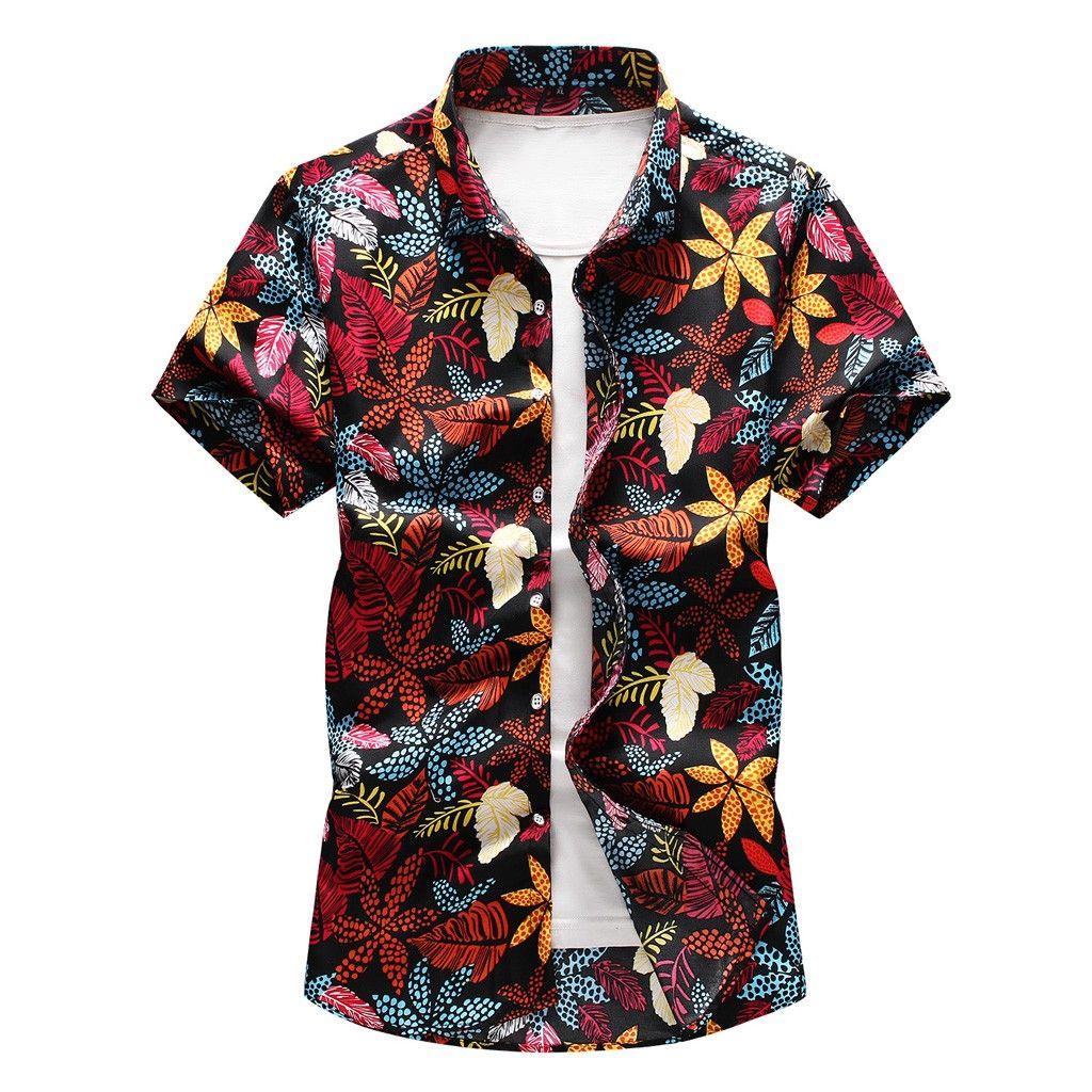 Цветочный принт гавайская рубашка с коротким рукавом отложной воротник кнопка топ мужская плюс размер рубашки 2020 уличная сорочка homme#2