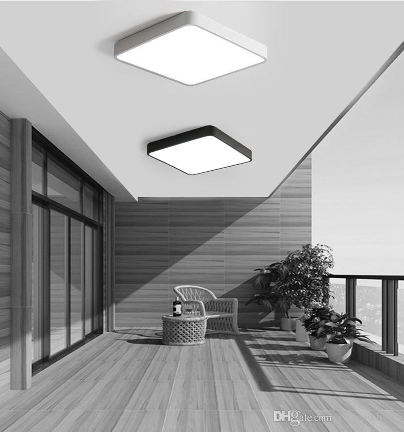 Moderna ultra-delgada lámparas de techo LED cuadrada de hierro redondo de color negro / blanco para las luces de techo de la sala dormitorio 5 cm Iluminación de interior - RW01