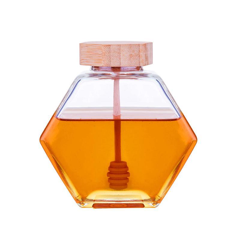 X600 Honigtopf 220ml / 8z Sechsecker Glashonigglas mit hölzernem Schöpflöffel und Korkdeckeldeckel für Hausküche
