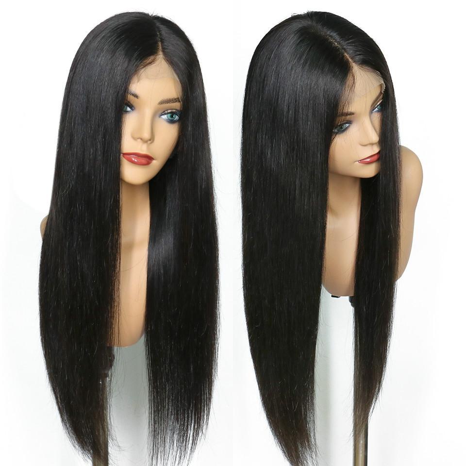 4x4 del encierro del cordón de la peluca recta Para frente del cordón 4x4 Negro Mujeres sin cola completa Fin brasileño de la Virgen Pre desplumados humano pelucas de pelo barato