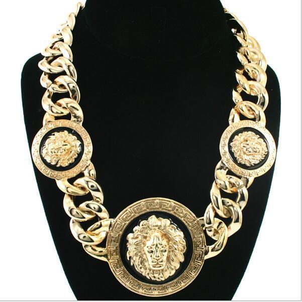 ps0038 Lion Head Choker della collana dei monili di modo di Freeshipping Nuovo Chunky unico placcatura in oro di collegamento degli animali