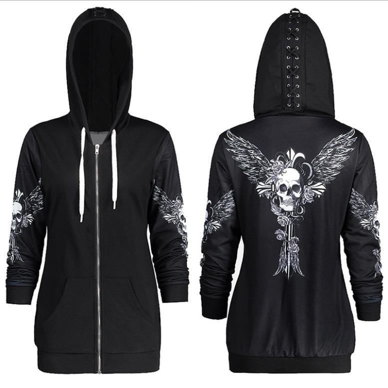Sokak Stili Kadınlar Ter Ceket Kapşonlu Siyah Sweatshirt Ücretsiz Kargo Baskılı Uzun Kollu Hırkalar S - 2XL