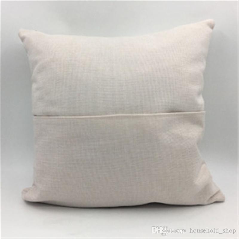 Sublimação bolso Pillowcase 40 * 40 Linen Pillowcover bolso Pillow Almofada de impressão de calor em branco Fronhas A02 Atacado