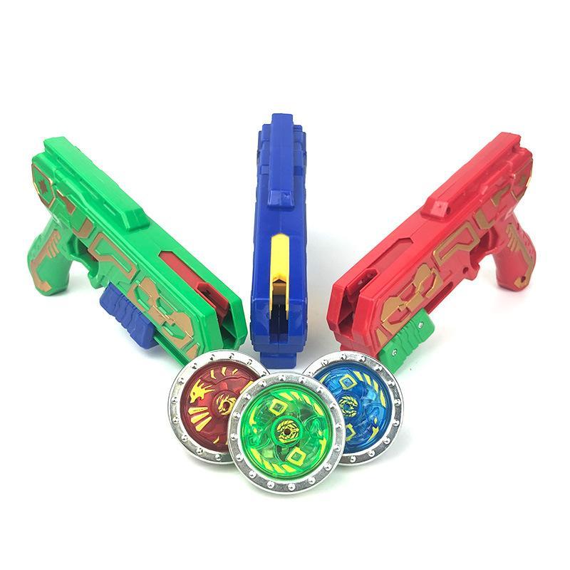 WJ1036X2 Nouveaux enfants contre arme à feu gyroscopique éblouir jeu de jouets avec la lumière et l'éclat jouet enfant plastique gyroscope classique Beyblades Lanceurs de gros