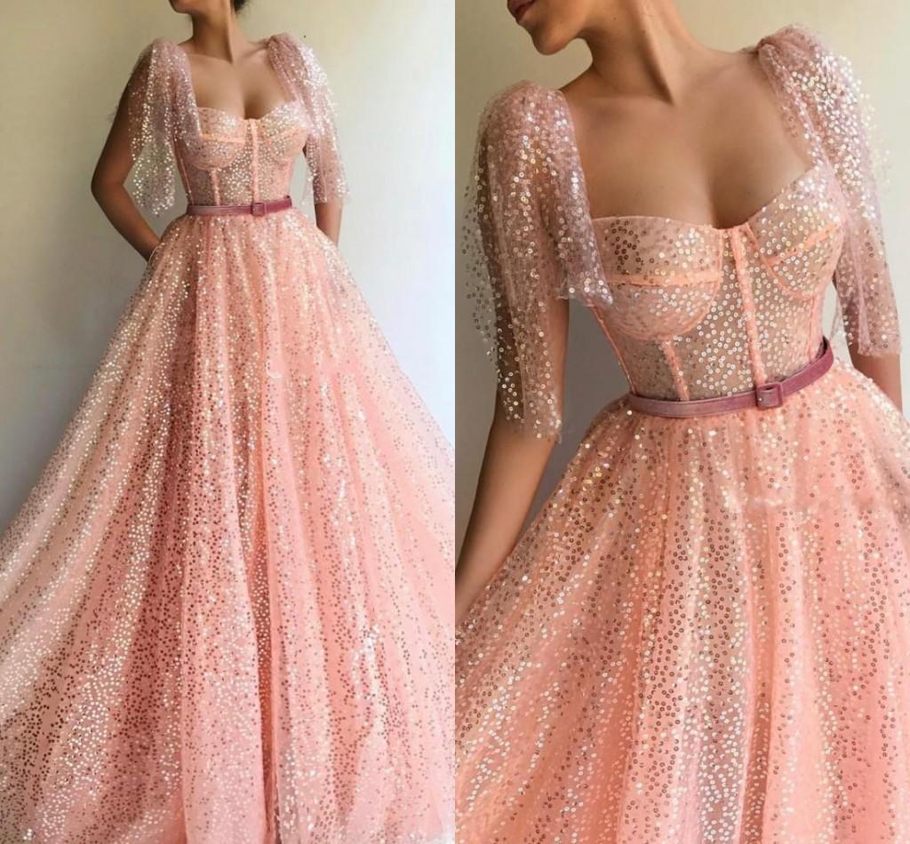Сексуальное Розовое Платье Выпускного Вечера Blingbling A Line Блестки Длина Пола Выпускное Вечернее Платье На Заказ Плюс Размер
