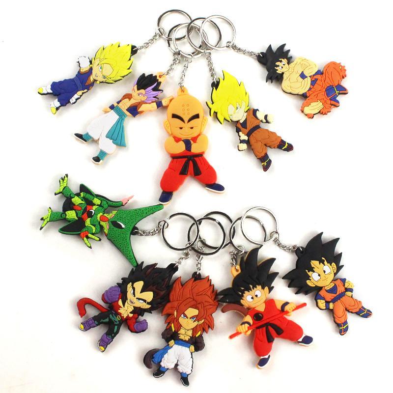 Catena del fumetto del Anime del sacchetto di Keychain Car Phone silicone chiave del PVC sveglio di Son Goku Action Figure Portachiavi
