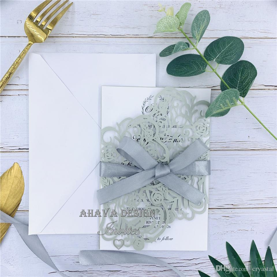 Bloom argent unique - invitations de mariage coupées au laser, carte florale élégante coupée au laser, invitation de mariage en dentelle, invitation de mariage bohème
