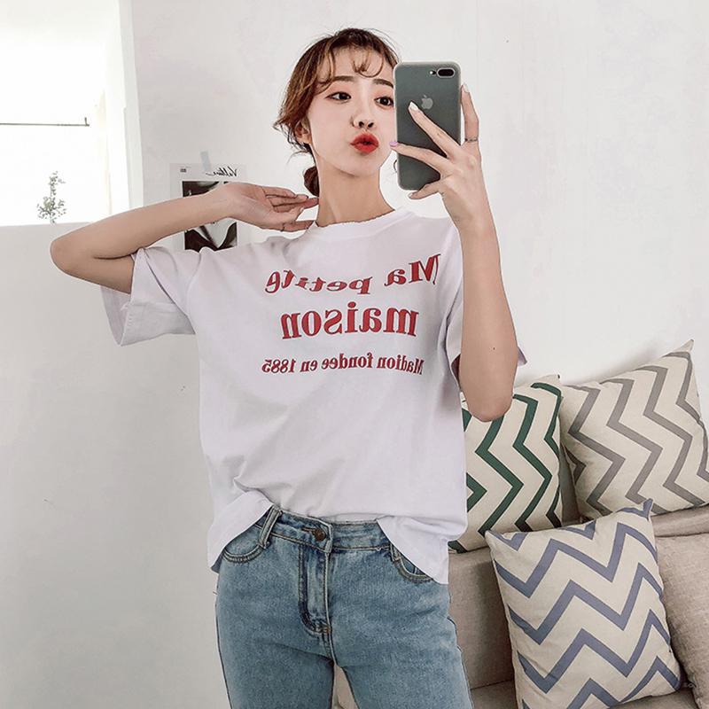 Coreia do Sólido Branco Estilo Selvagem Carta Claro Cor Elemento bonito camiseta T-shirt Printing Série poliéster de manga curta