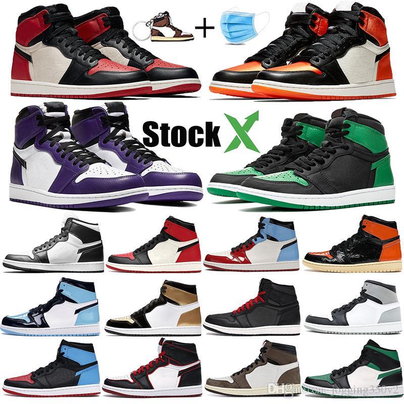 Бред палец Jumpman 1 1s мужчин баскетбол обувь суд фиолетовый черный белый разрушенной спинодержатель TOP 3 Bloodline UNC патентными мужские спортивные кроссовки