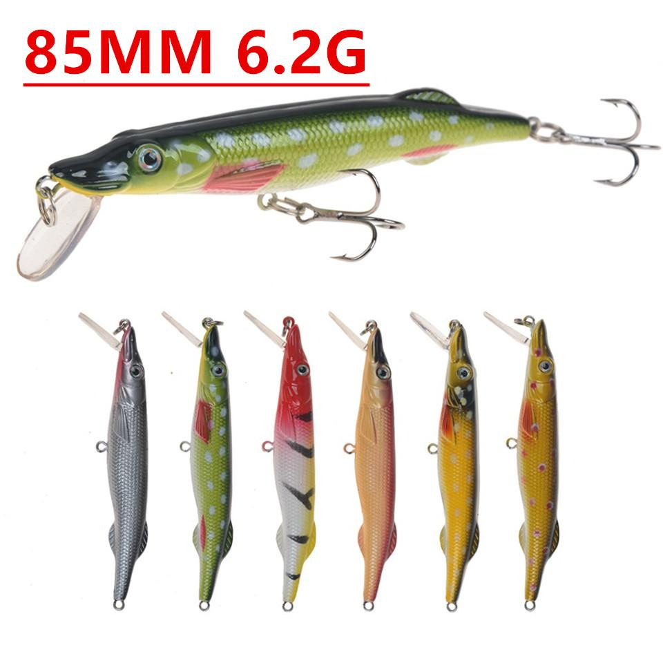 Mixed 6 Color 85mm 6.2g Minnow Fishing Hooks Fishhooks 6# Hook Plastic Hard Baits & Lures Pesca Fishing Tackle Accessories