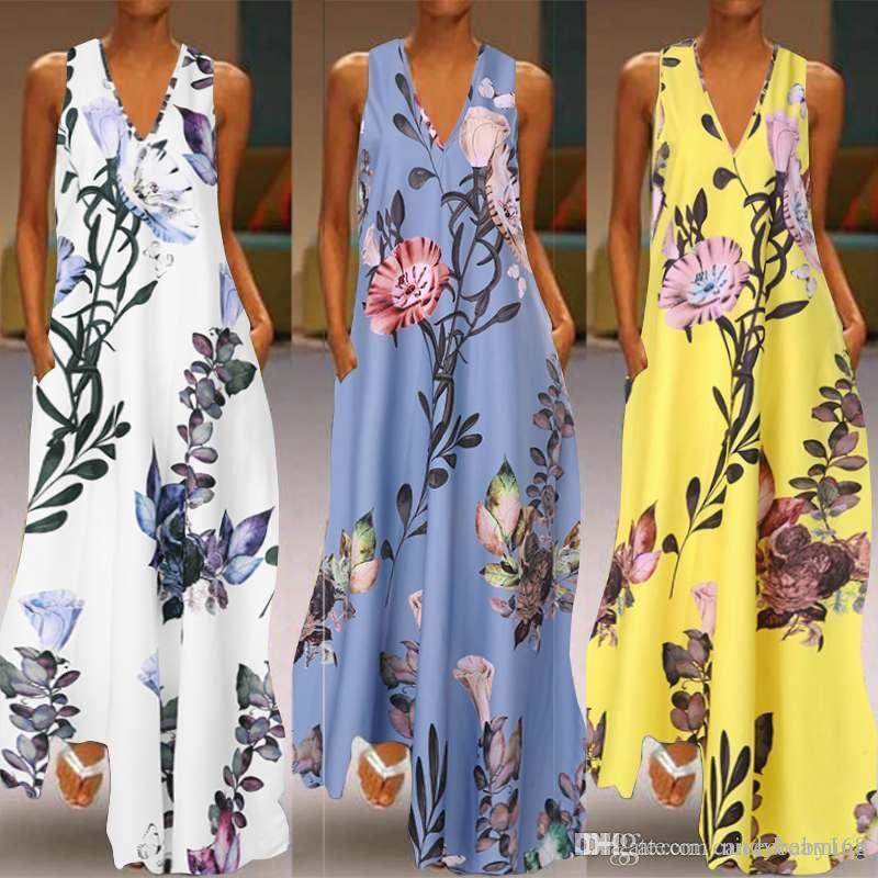 2020 أزياء الصيف فستان الشمس المرأة ماكسي لونغ Vestidos الزهور مطبوعة البوهيمي اللباس السيدات جيوب عادية طويلة تونك رداء HOTSELL