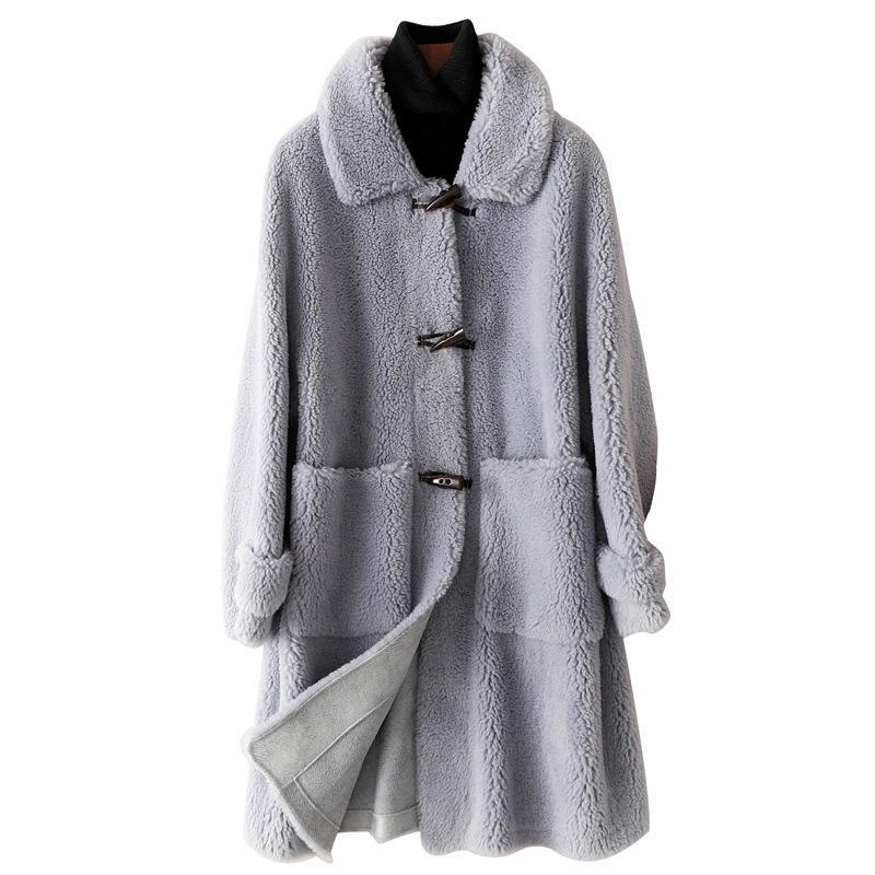 Laine véritable manteau de fourrure Veste Automne Hiver Femmes de fourrure Manteaux LF9064