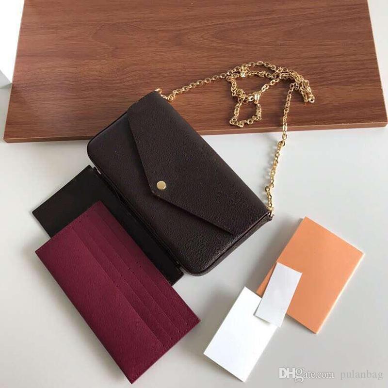 Klasik kadın Tasarımcı çanta baskı çiçekler 3 in 1 zincir çanta gerçek deri cüzdan Kart Crossbody çanta omuz Messenger cüzdan çanta