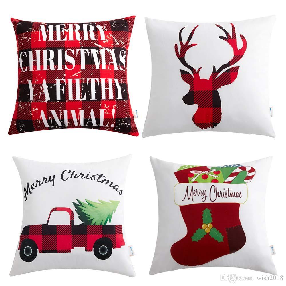زينة عيد الميلاد عطلة عيد الميلاد القطن الكتان وسادة تغطي 18 × 18 مع شاحنة عيد الميلاد الغزلان ثلج سانتا كلوز نمط هدايا عيد الميلاد