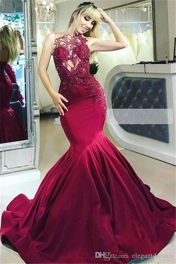 African Burgundy Mermaid Prom Dresses 2019 Sheer Neck Appliques Open Back Long Evening Party Gowns Dubai Arabic Evening Gowns Elegant