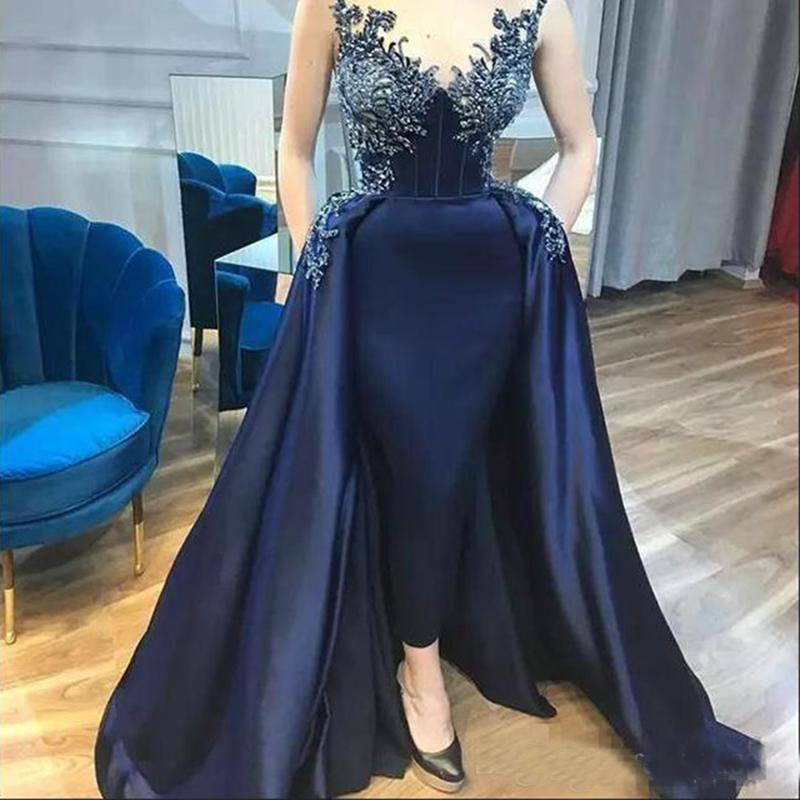 Navy Blue Sheer Mesh Top Satin Long Evening Dresses With Detachable Train 2020 Lace Applique Beaded Formal Party Prom Gowns