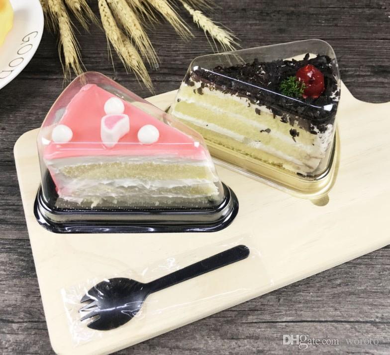 Nueva llegada de plástico claro Caja de torta desechable individual individual de 8 pulgadas Triángulo Cajas de pastel de comida Postre de comida Empaquetado