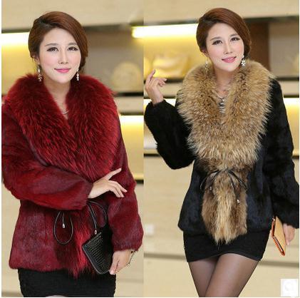 الإناث الفراء الستر كبير الحجم تقليد الفراء طوق كبير الشتاء صنع المعاطف casaco كوم بيليه النساء فو أبلى Cj52
