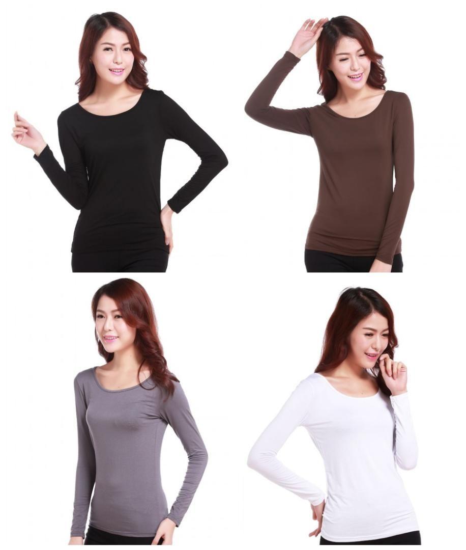 Mode Femmes Mesdames Musulman Serré T-shirt Femme Islamique Manches Longues Chemisier En Coton Modal