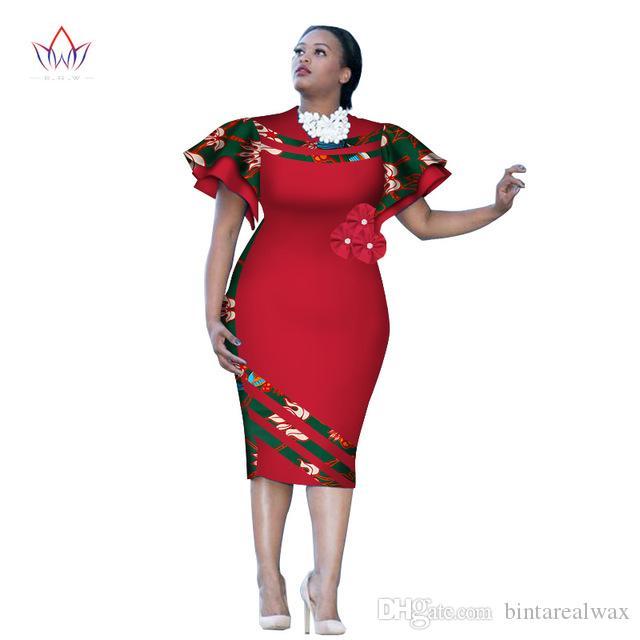 Customized African Print ClothingRuffle Sleeve Knee Dress Summer Women  Party Dresses Plus Size African Clothing 6XL BRW WY2409 Summer Dress Maxi  Grey ...