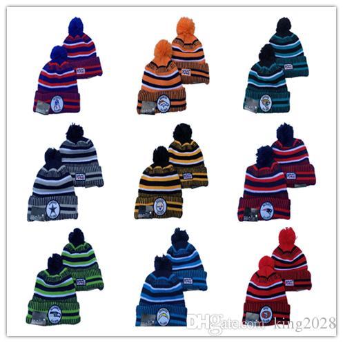 أزياء الشتاء الأمريكية قبعة كاب pompom قبعة قبعات مكبل محبوك الرجبي قبعة رياضية النساء الرجال مخطط الكرة قبعة متعدد الألوان