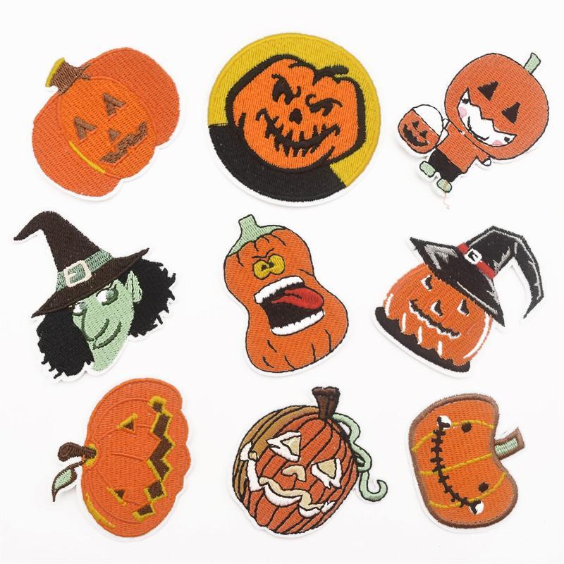 90pcs Halloween Pumpkin Tree Leaf знак Вышитые Железный на Патчи ткани Аппликация DIY