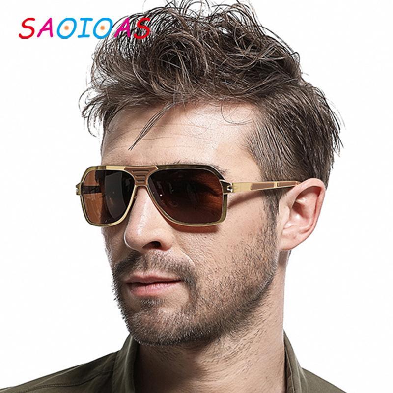 SAOIOAS de los hombres de las gafas de sol polarizadas de los hombres de la aleación de silicona + capa de espejo de los vidrios oculos masculino Oro Gafas accesorios para hombres