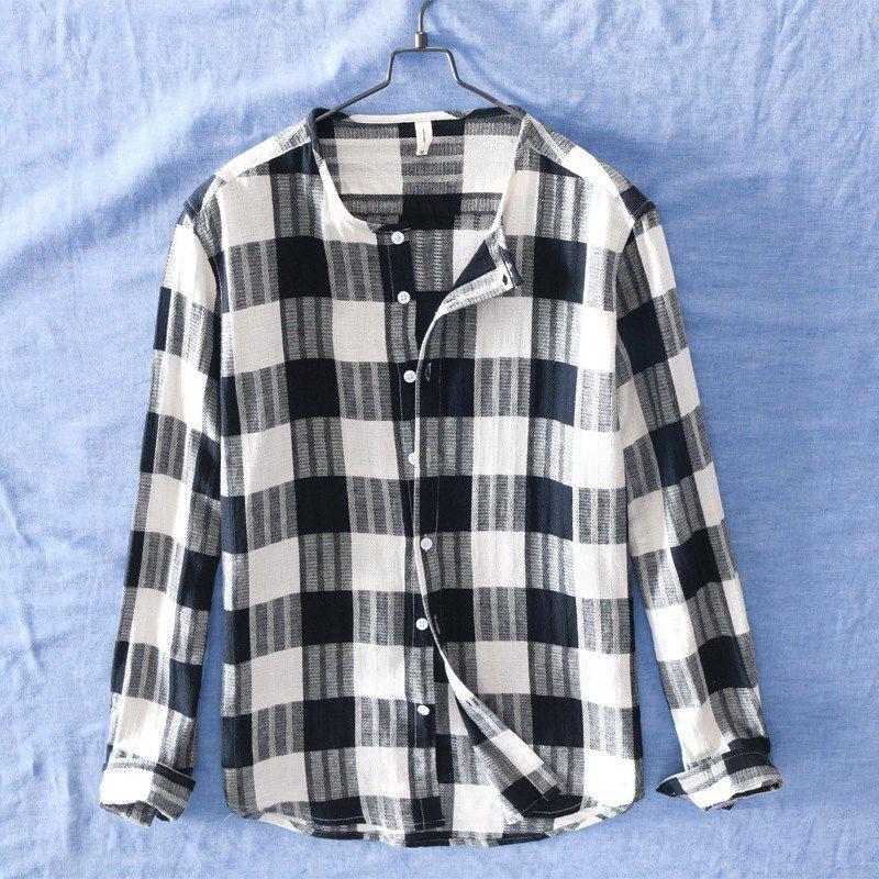 Quality Mens Linen Cotton Collarless Plaid Long Sleeve Casual Shirt Men Social Business Flax Dress Shirts Male Top TS-470