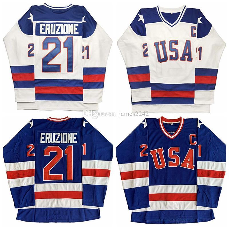 Mike Eruzione 21 Wunder auf Eis Team USA Film Männer Hockey Jersey Blau Weiß Nähed S-3XL Kostenloser Versand