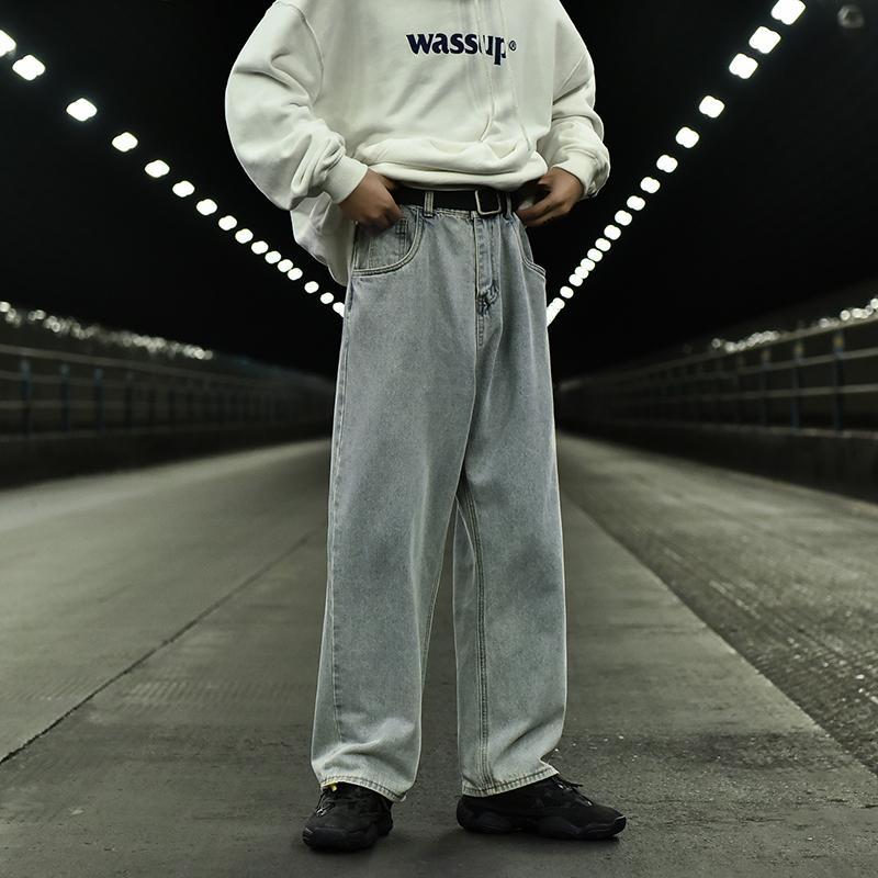 2019 Automne et Hiver Nouveau Rétro jambe large Pantalon droit Mode Casual Solide Couleur Noir Vieux desserrées Jeans / Blue Sky M-2XL