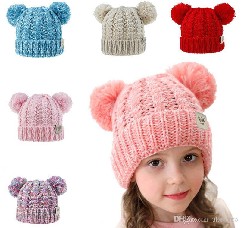 Soft Winter Boys Girls Faux Fur Pompom Hats Caps 2019 Kids Childs Girls Wool Knitted Skullies Beanies For Children Hair Ball Cap M221Y