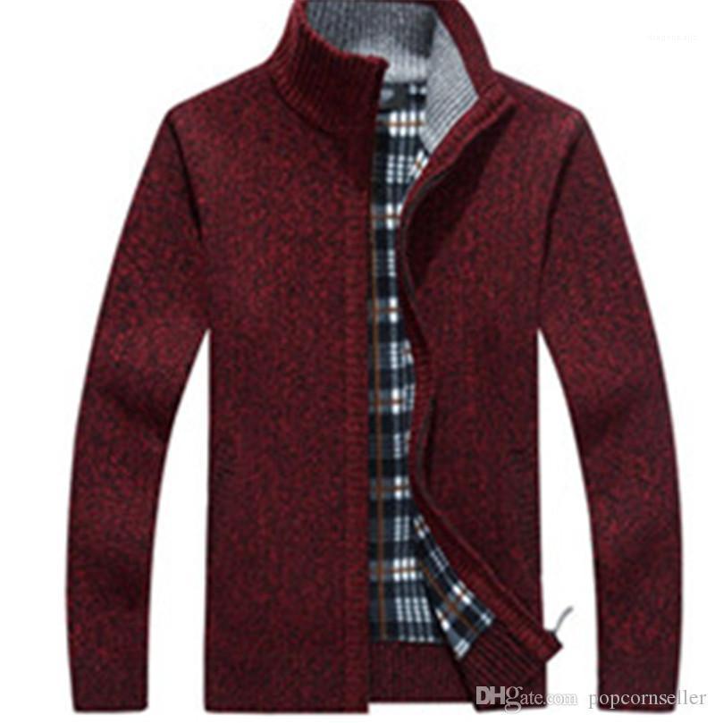Caliente del collar del soporte de la cremallera del cuello de manga larga ropa de invierno señores abrigos para hombre del diseñador de moda chaquetas de franela engrosamiento